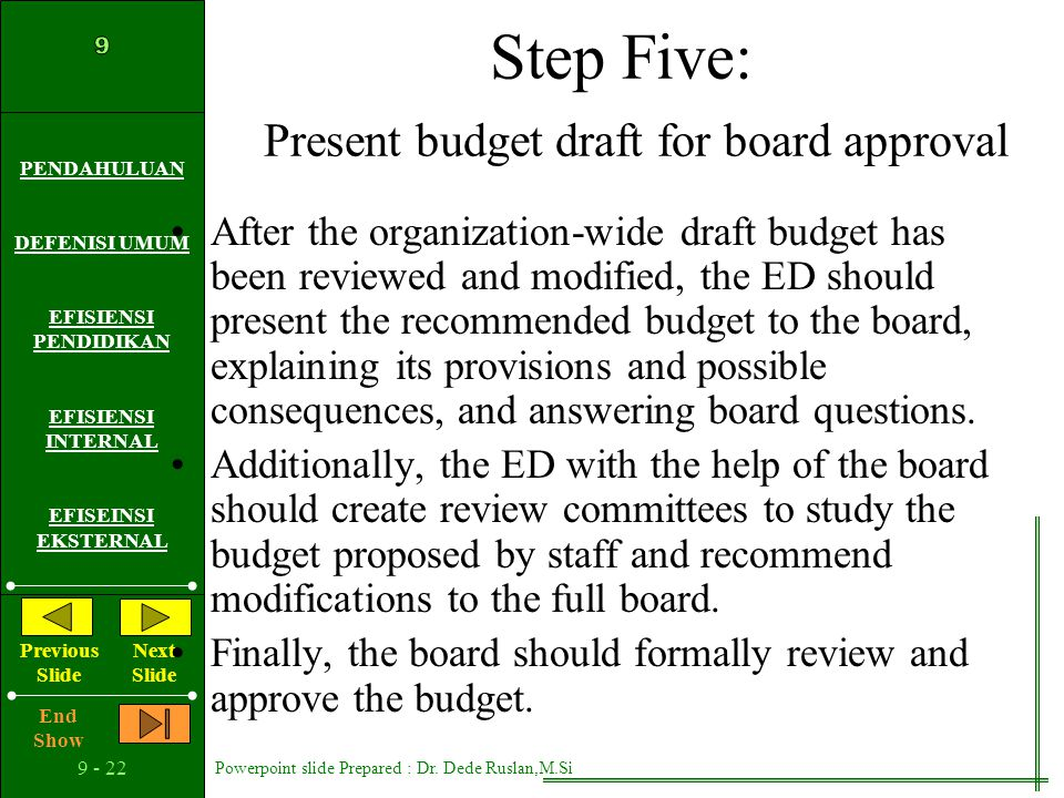Step Five: Present budget draft for board approval