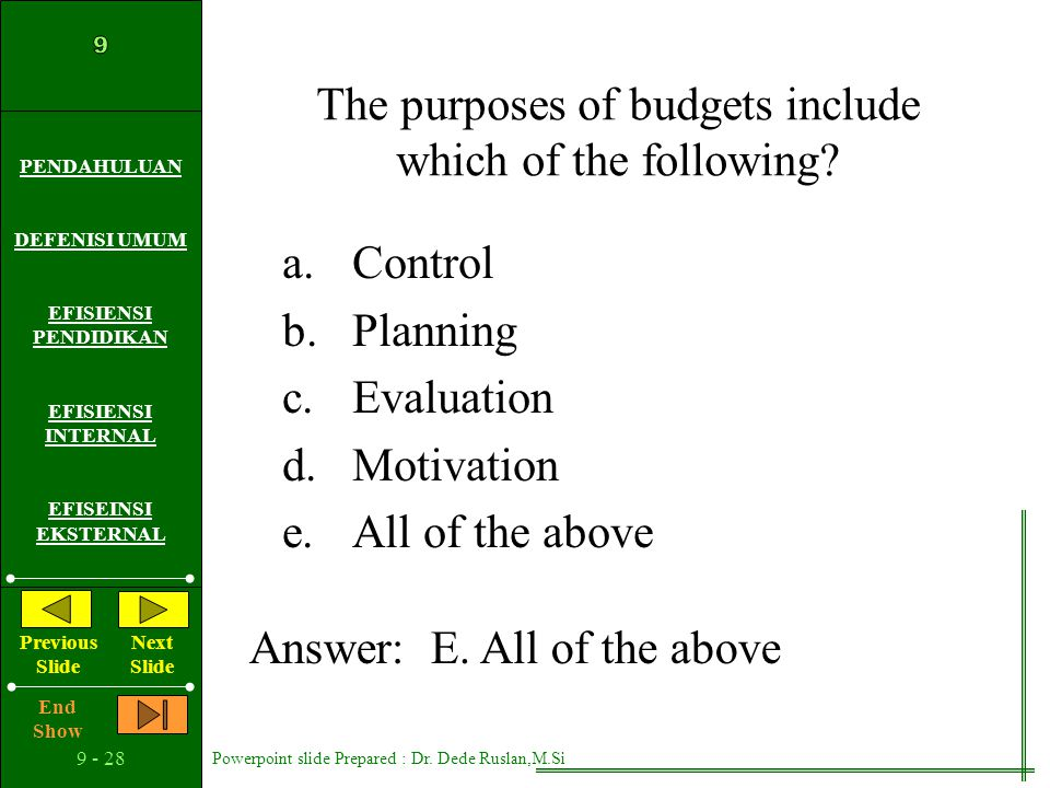 The purposes of budgets include which of the following