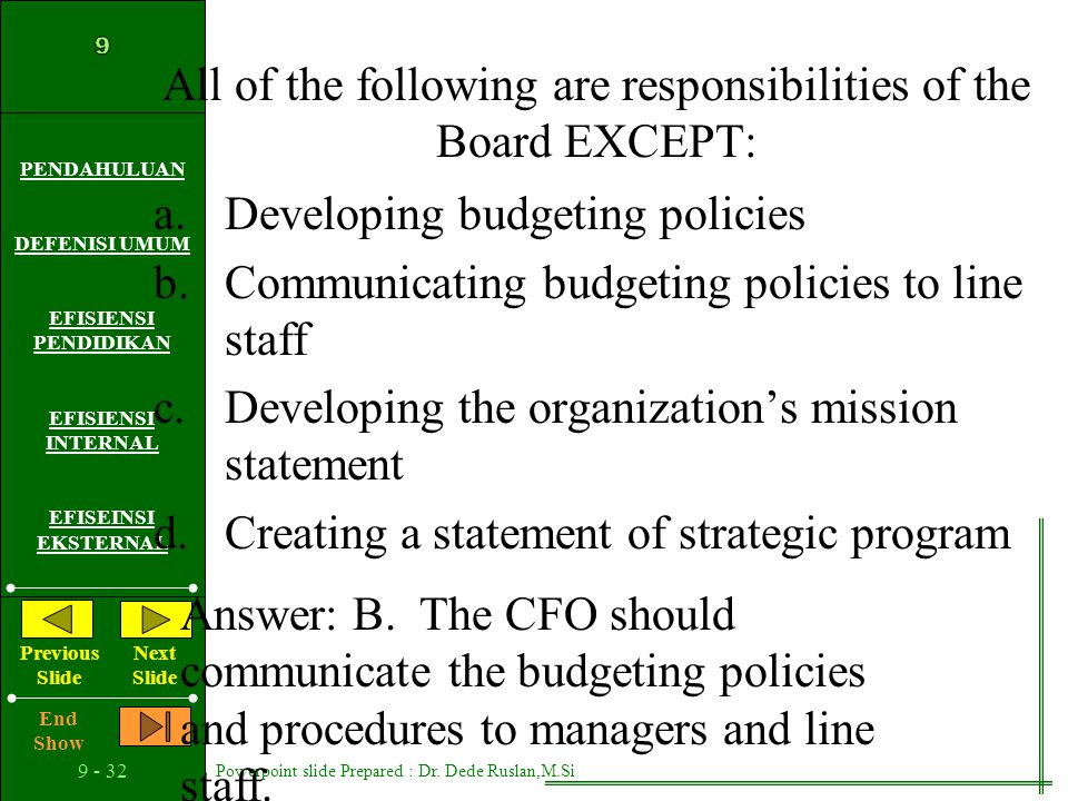 All of the following are responsibilities of the Board EXCEPT: