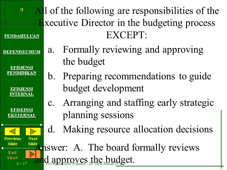 All of the following are responsibilities of the Executive Director in the budgeting process EXCEPT: