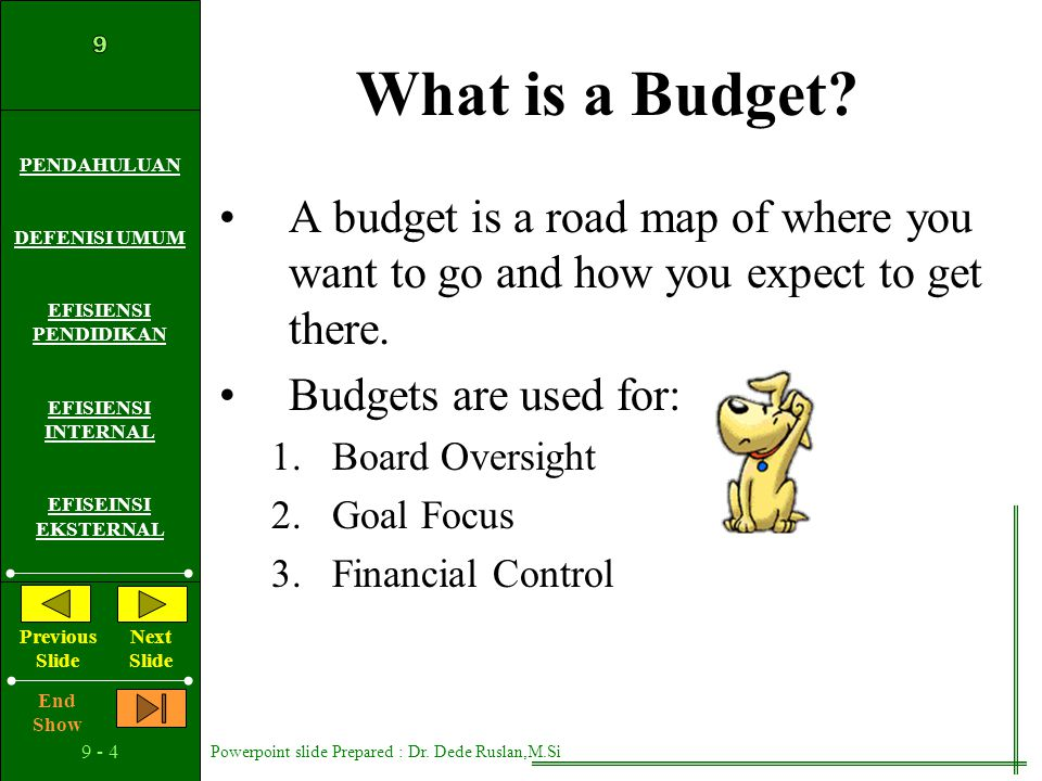 What is a Budget A budget is a road map of where you want to go and how you expect to get there. Budgets are used for: