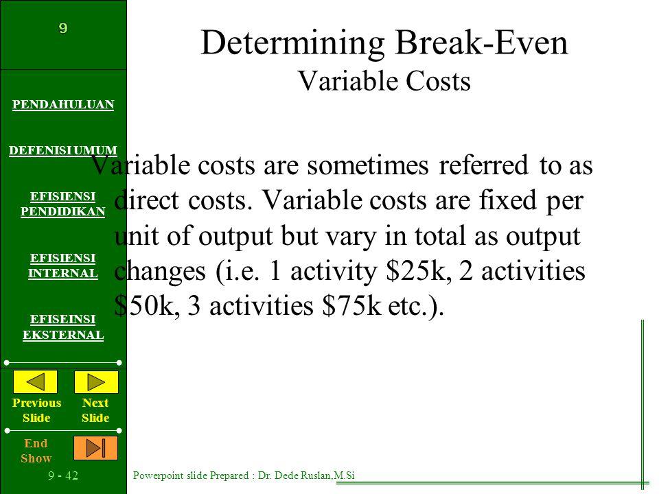Determining Break-Even Variable Costs