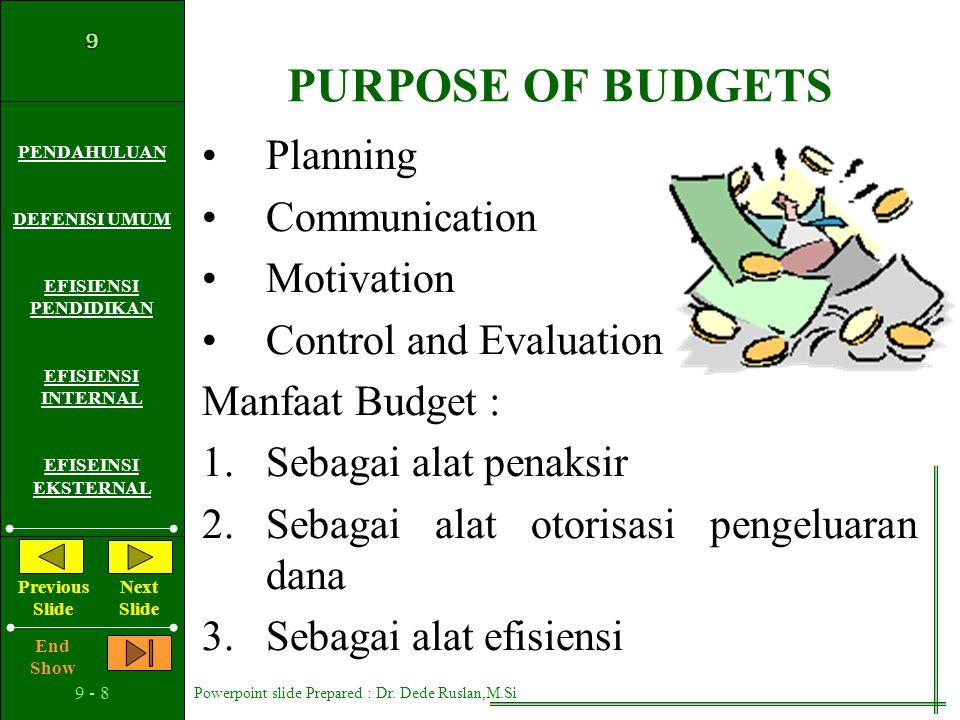 PURPOSE OF BUDGETS Planning Communication Motivation