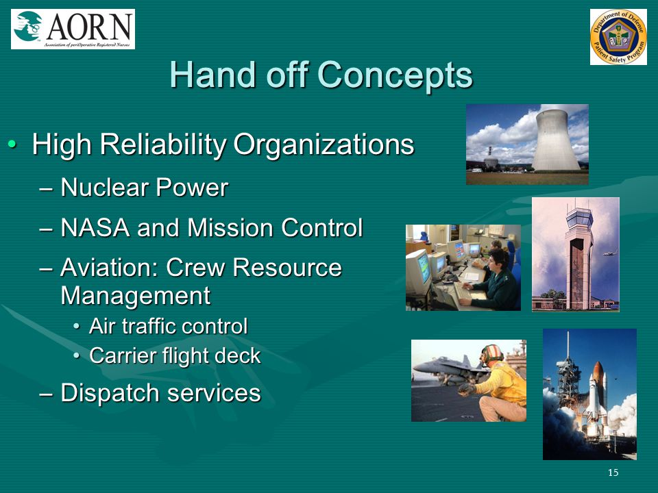 Hand off Concepts High Reliability Organizations Nuclear Power