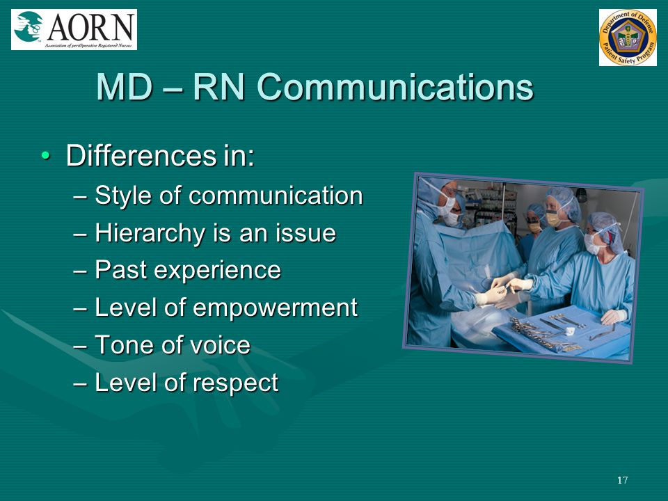 MD – RN Communications Differences in: Style of communication