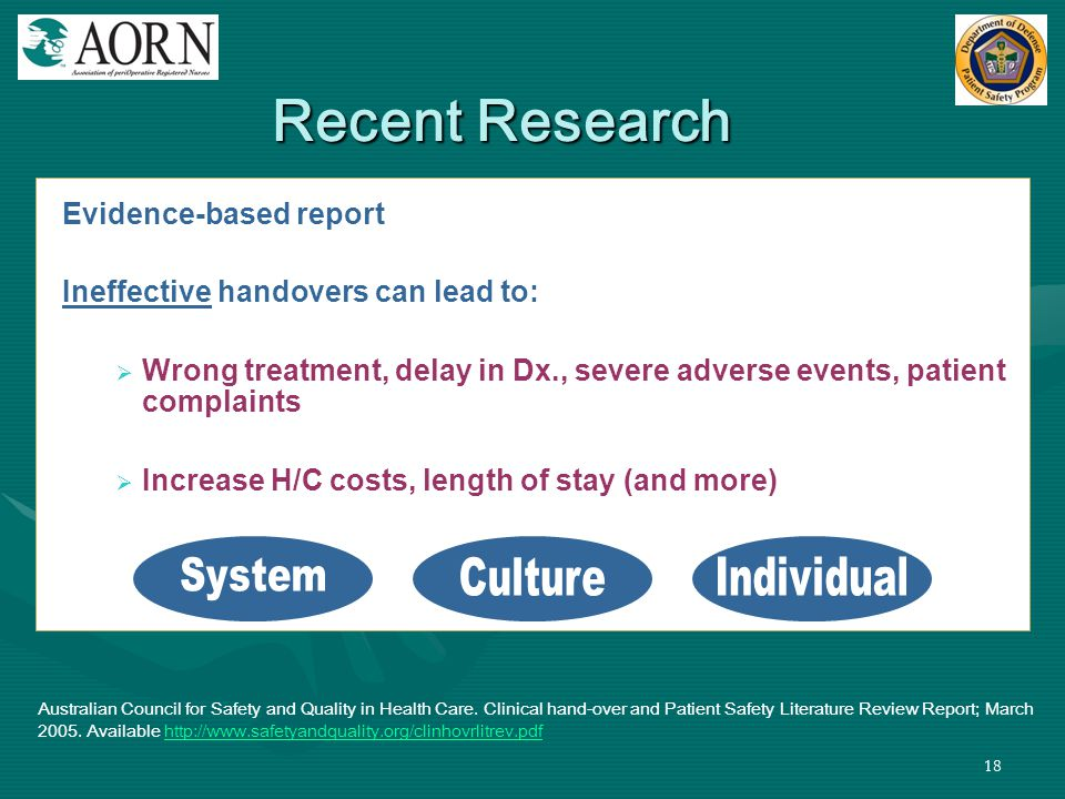 Recent Research System Culture Individual Evidence-based report