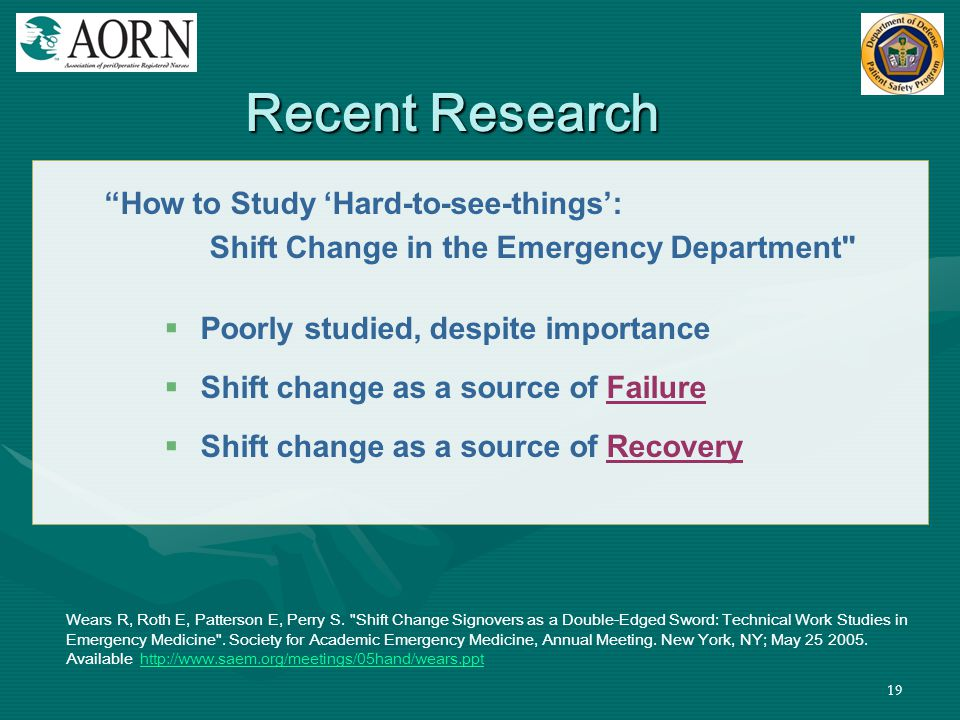 Shift Change in the Emergency Department