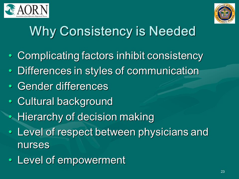 Why Consistency is Needed