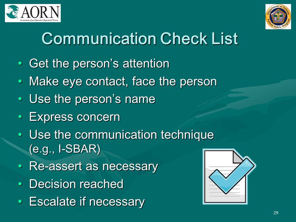 Communication Check List