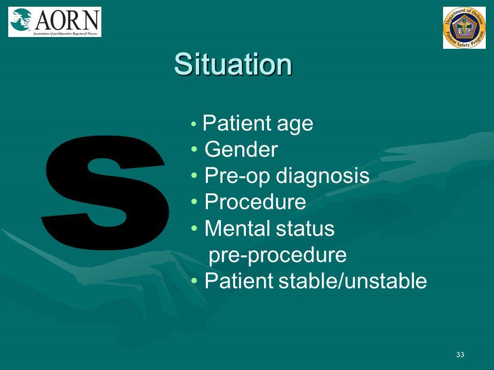 Situation s Gender Pre-op diagnosis Procedure Mental status