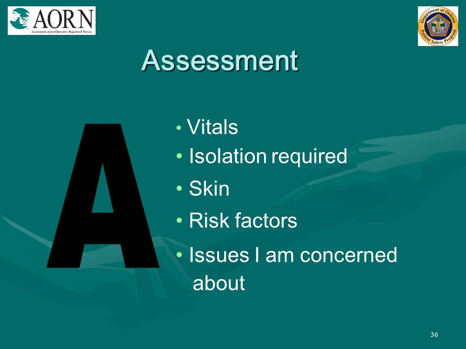 Assessment A Isolation required Skin Risk factors