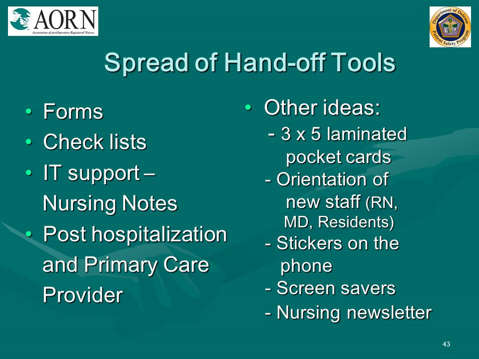 Spread of Hand-off Tools