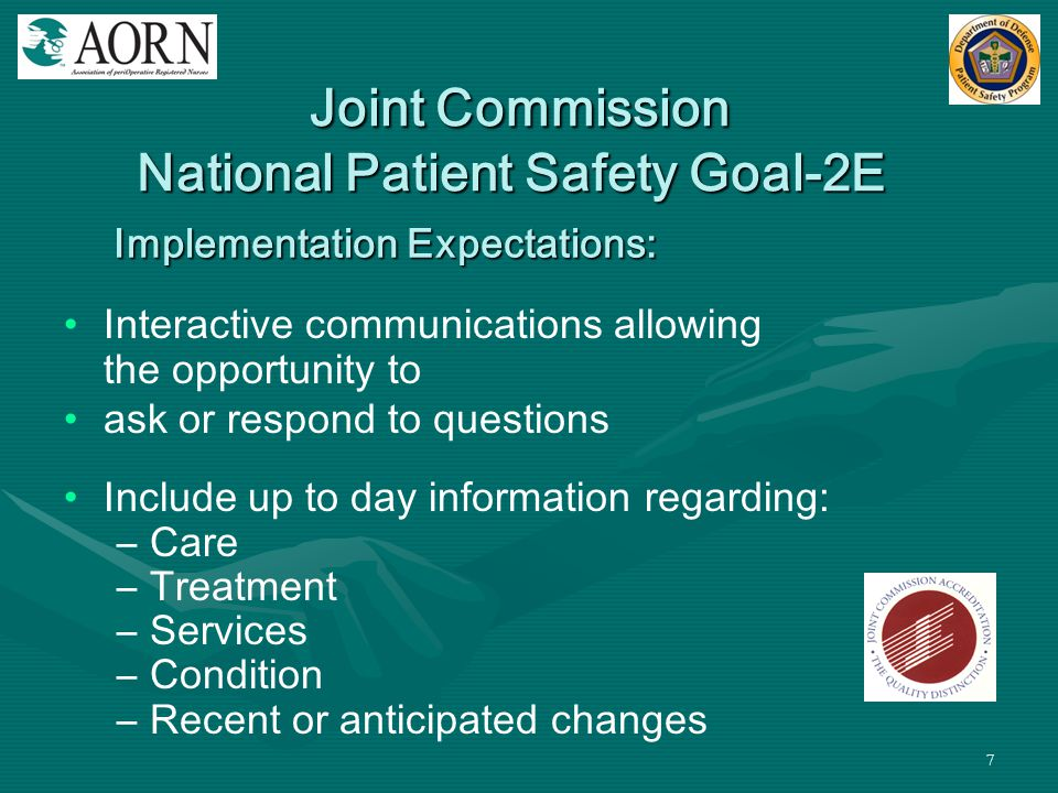 Joint Commission National Patient Safety Goal-2E