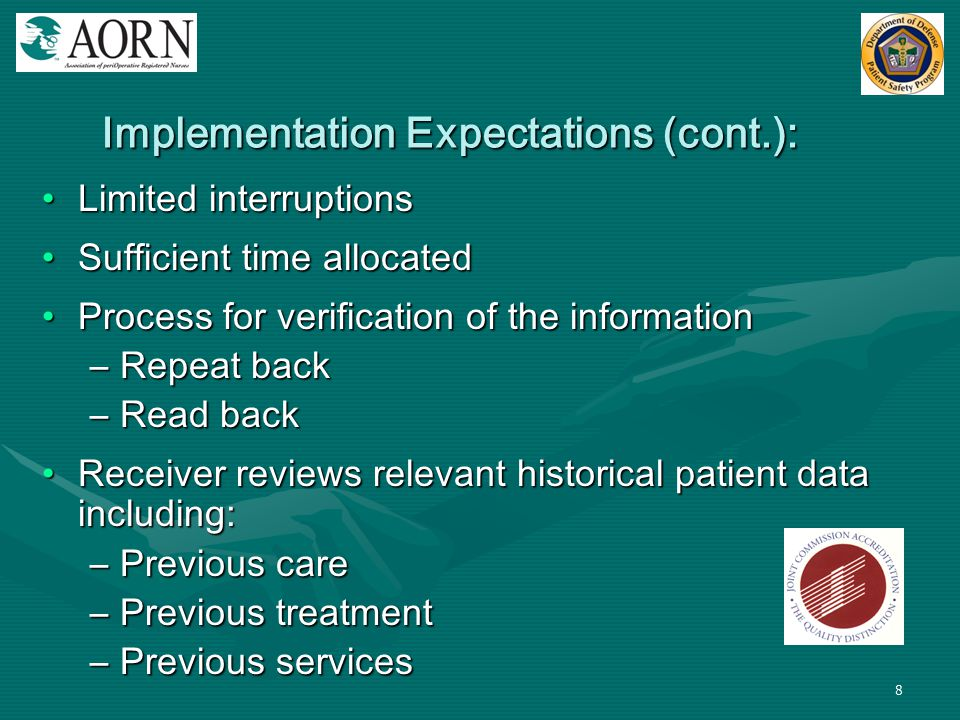 Implementation Expectations (cont.):