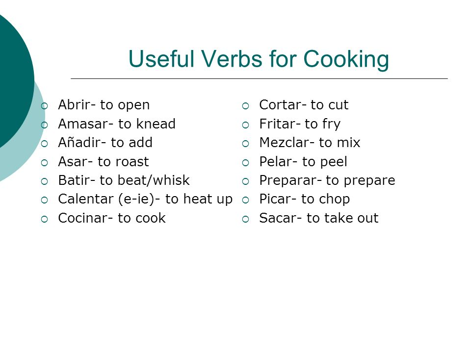 Useful Verbs for Cooking