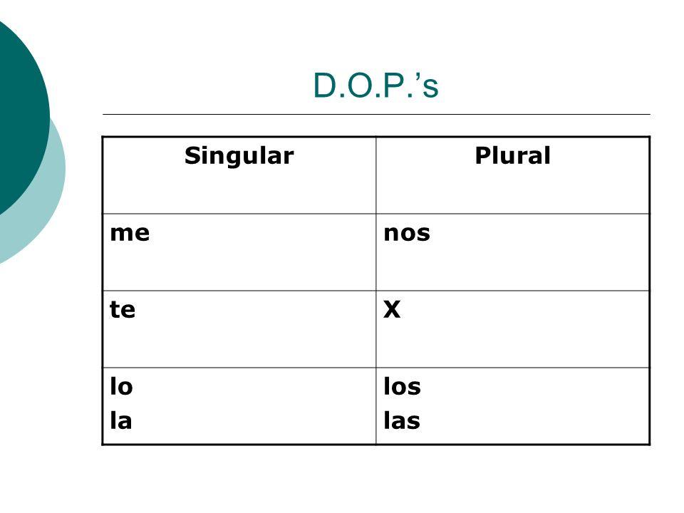 D.O.P.'s Singular Plural me nos te X lo la los las