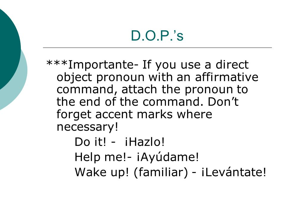D.O.P.'s