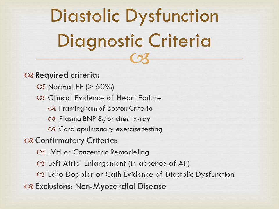 Diastolic Dysfunction Diagnostic Criteria