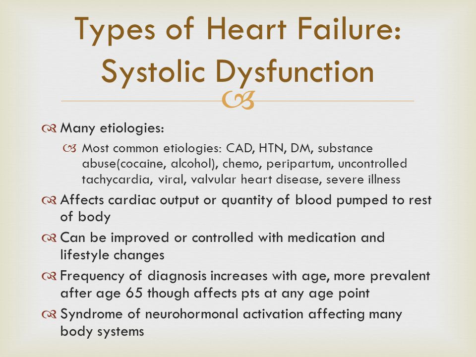 Types of Heart Failure: Systolic Dysfunction
