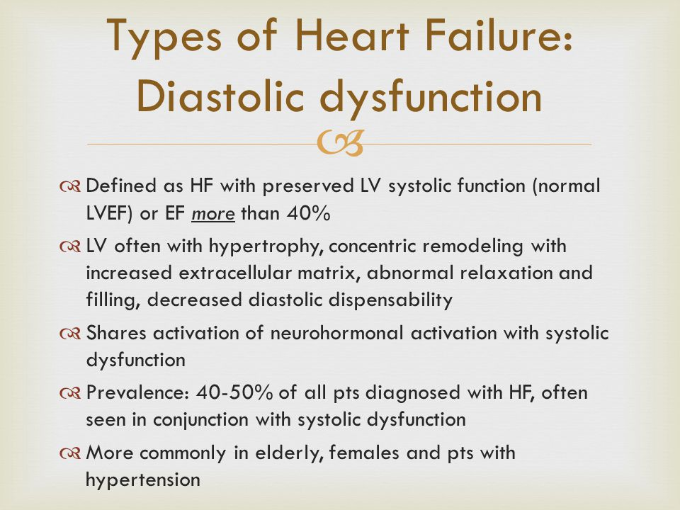 Types of Heart Failure: Diastolic dysfunction