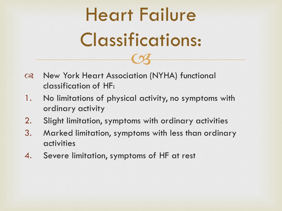 Heart Failure Classifications:
