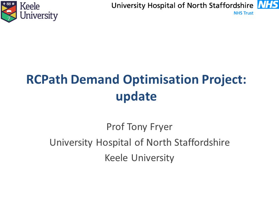 RCPath Demand Optimisation Project: update