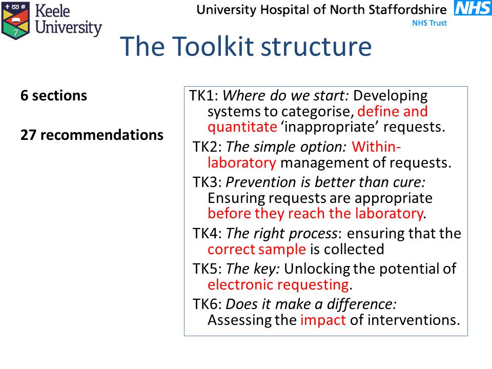 The Toolkit structure 6 sections 27 recommendations