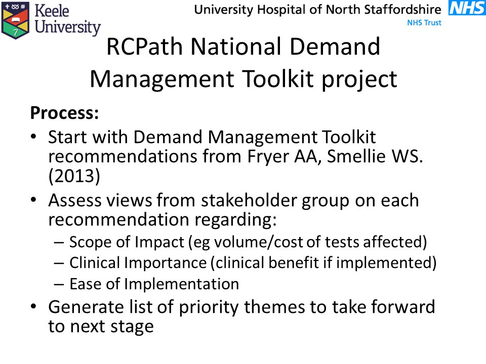 RCPath National Demand Management Toolkit project