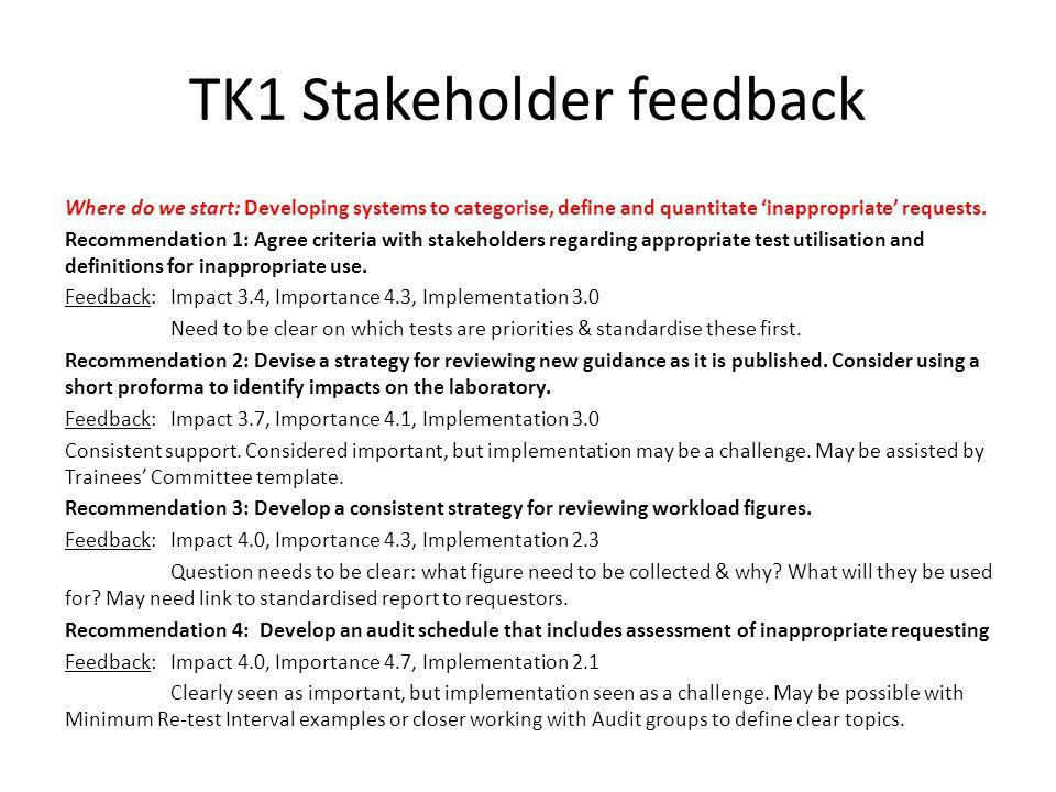 TK1 Stakeholder feedback