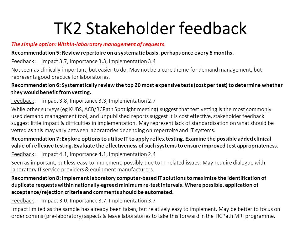 TK2 Stakeholder feedback