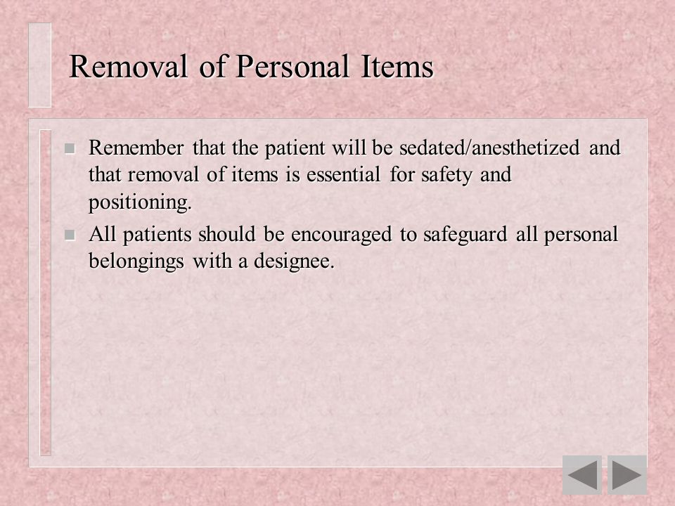 Removal of Personal Items