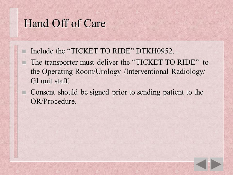 Hand Off of Care Include the TICKET TO RIDE DTKH0952.