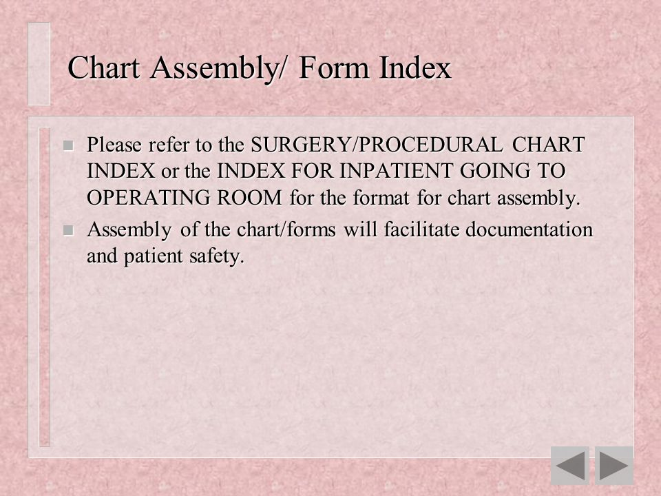 Chart Assembly/ Form Index