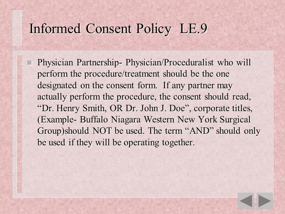 Informed Consent Policy LE.9