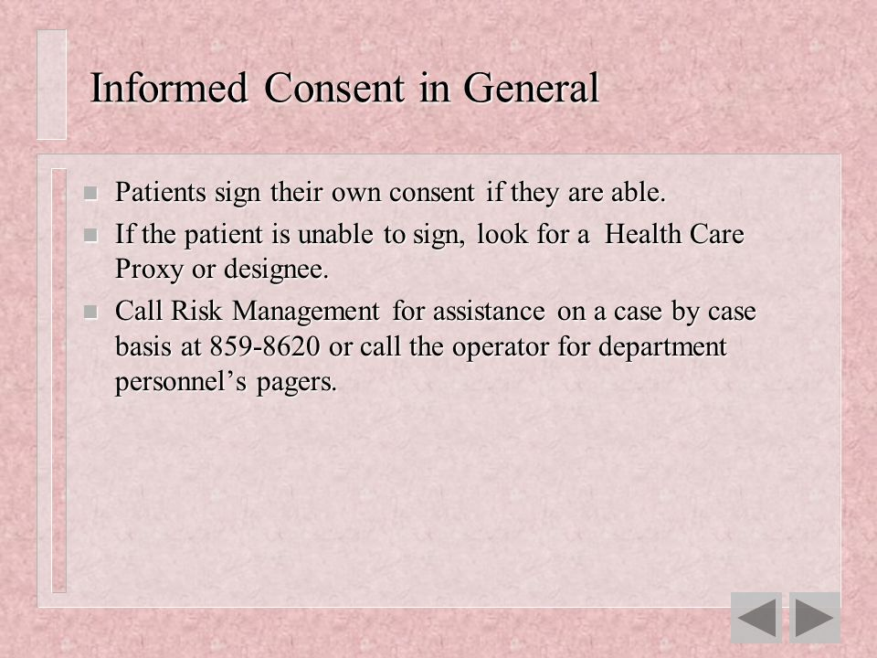 Informed Consent in General