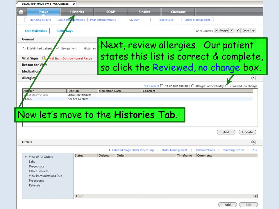 Next, review allergies. Our patient states this list is correct & complete, so click the Reviewed, no change box.