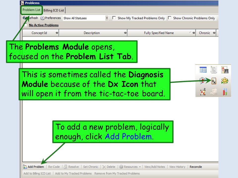 The Problems Module opens, focused on the Problem List Tab.
