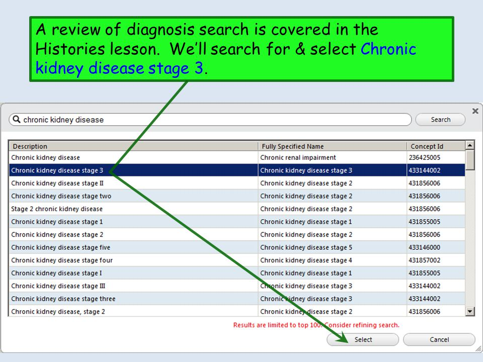 A review of diagnosis search is covered in the Histories lesson