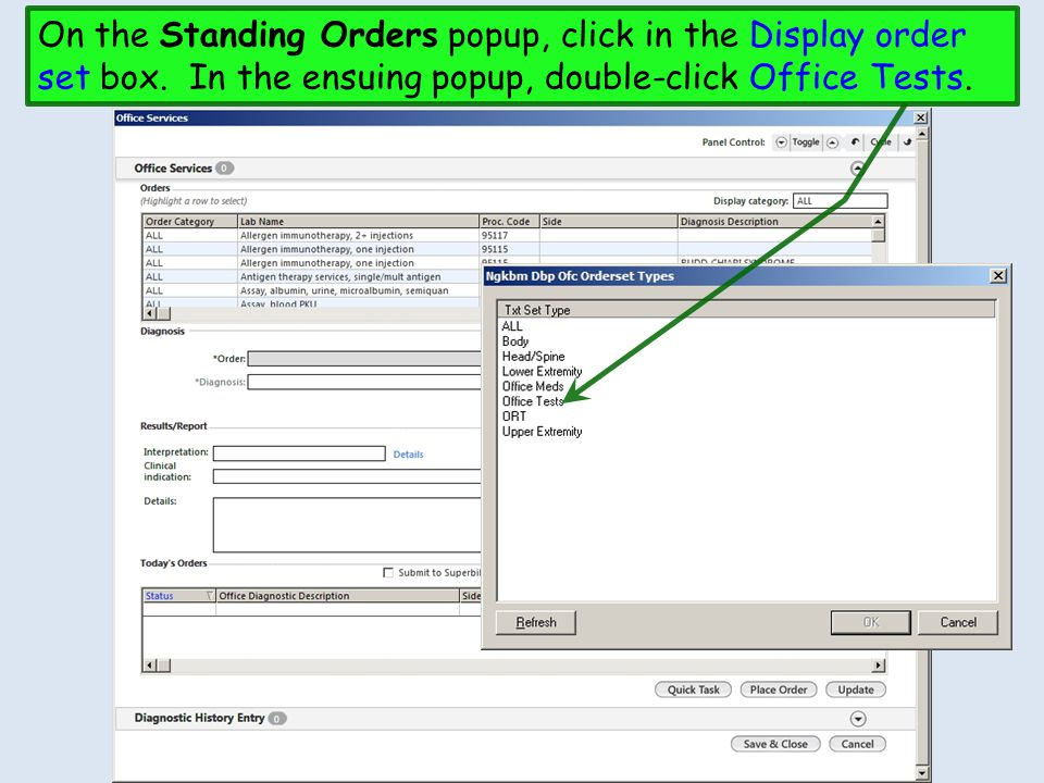 On the Standing Orders popup, click in the Display order set box