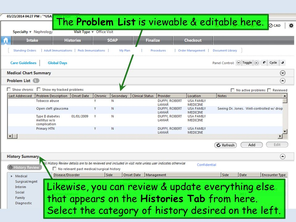 The Problem List is viewable & editable here.