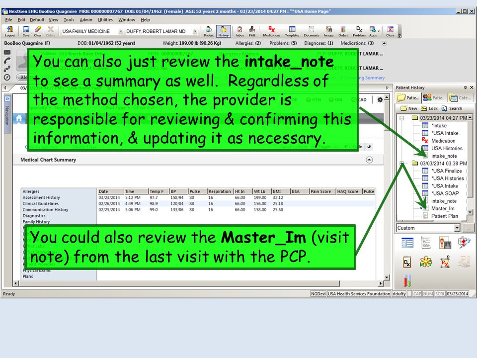 You can also just review the intake_note to see a summary as well