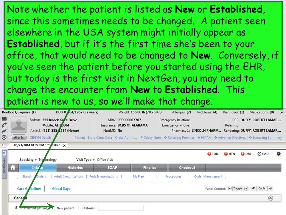 Note whether the patient is listed as New or Established, since this sometimes needs to be changed.