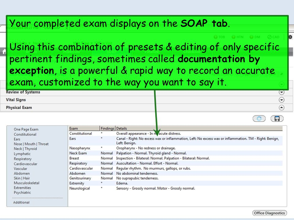 Your completed exam displays on the SOAP tab.
