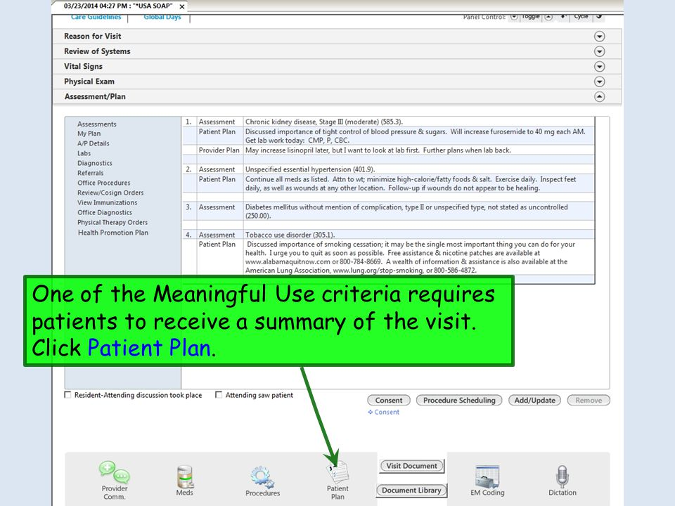 One of the Meaningful Use criteria requires patients to receive a summary of the visit.