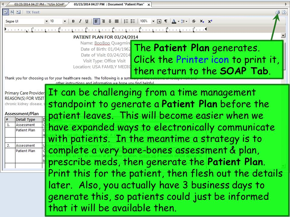 The Patient Plan generates