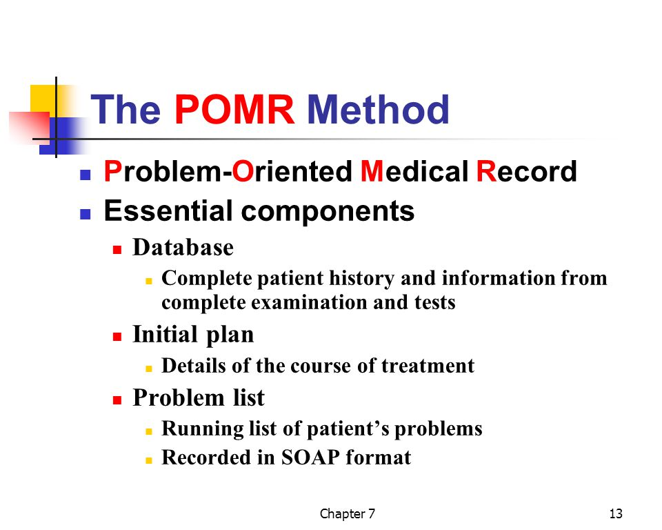 The POMR Method Problem-Oriented Medical Record Essential components