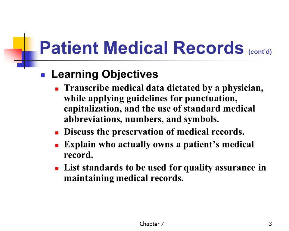 Patient Medical Records (cont'd)