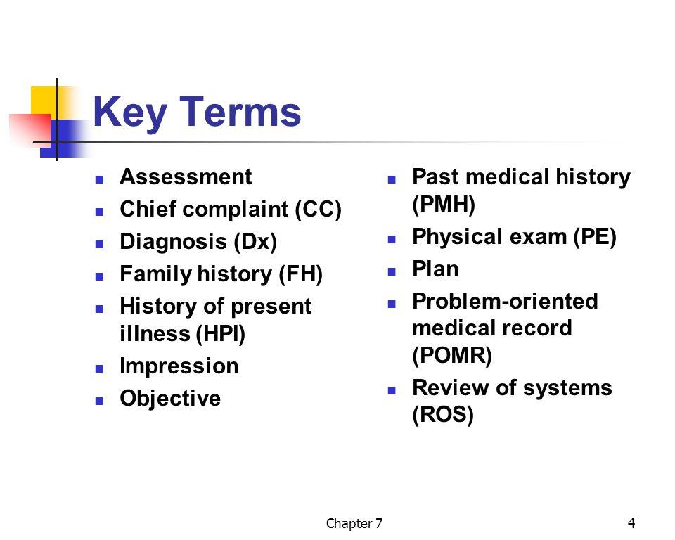 Key Terms Assessment Chief complaint (CC) Diagnosis (Dx)
