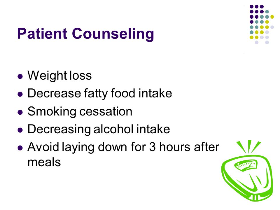 Patient Counseling Weight loss Decrease fatty food intake