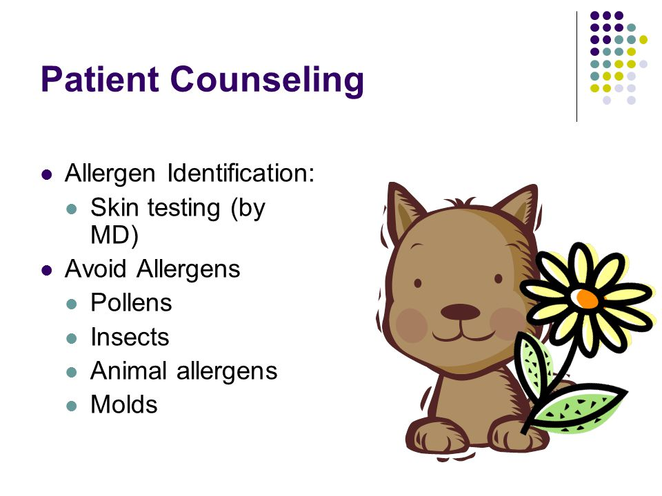 Patient Counseling Allergen Identification: Skin testing (by MD)